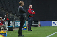 Swansea City manager Paul Clement and MK Dons manager Robbie Nelson during during the Carabao Cup Second Round match between MK Dons and Swansea City at StadiumMK, Milton Keynes, England, UK. 22 August 2017