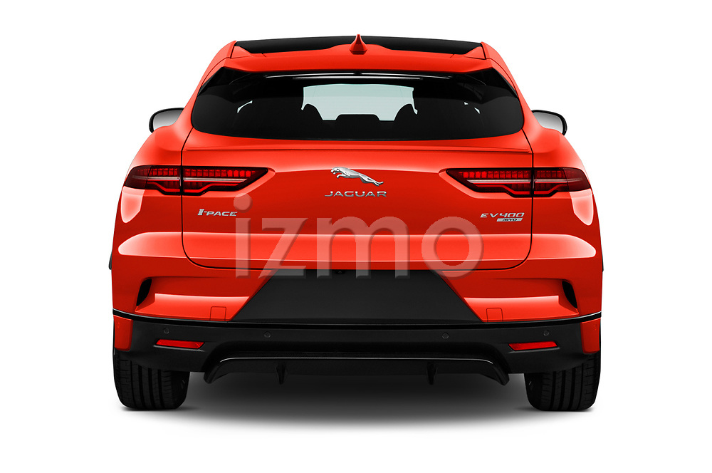Straight rear view of a 2019 Jaguar I Pace HSE 5 Door Hatchback stock images