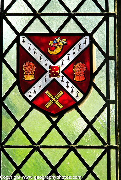Stained glass heraldry picture, Ely cathedral, Cambridgeshire, England, UK