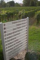 Signs chateaux Clos Lamothe, Pessan, Vieux Gaubert, Bernard Raymond, Cabannieux, Bellevue, Crabitey, Hospital, Vieille France. Graves, Pessac Leognan Bordeaux France