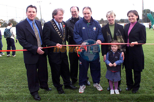 Cutting the tape to officially open Albion Rovers' new all weather pitch were from left, Brendan McEntaggart, Playfield Sports, Mayor Frank Godfrey, Gerry Gorman, secetary Meath & District League, Brian Kerr, Marge Duffy, Chairman Albion, mary reilly, Secetary and Orlaith Duffy..Picture: Paul Mohan/Newsfile