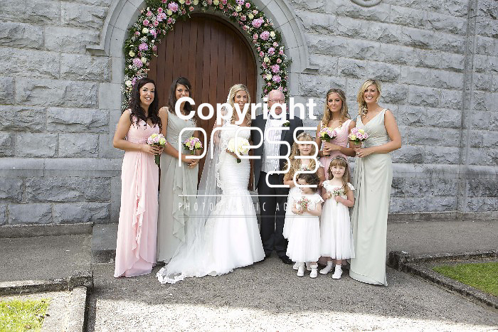 Bride  Grainne  Brosnan pictured with her Father Clem & Bridesmaids & flower Girls  at the church for her wedding to  Ex Munster & Ireland Rugby Player Denis Leamy  in Rockwell College Church Co.Tipperary Picture Credit: Brian Gavin Press 22