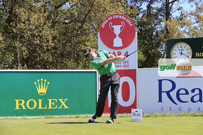 Miguel Angel Jimenez (ESP) tees off during Wednesday's Pro-Am of the 2014 Open de Espana held at the PGA Catalunya Resort, Girona, Spain. Wednesday 14th May 2014.<br /> Picture: Eoin Clarke www.golffile.ie