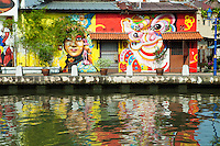 Murals are painted on the shophouses along Melaka River, adding a touch of color to both the buildings and river itself.  Cruises along the river are a good way to see the  surroundings-  which was once the main corridor of Melaka during its heyday as a trading port.