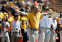 Clancy Pendergast calls out to the field. The California Golden Bears defeated the UCLA Bruins 35-7 at Memorial Stadium in Berkeley, California on October 9th, 2010.