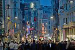 Istanbul, Turkey, Istiklal Caddesi, Istiklal Avenue, Galatasaray, Saturday night, pedestrian street, night,.