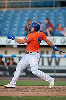 Syracuse Mets Tim Tebow (15) hits a single during an International League game against the Charlotte Knights on June 11, 2019 at NBT Bank Stadium in Syracuse, New York.  Syracuse defeated Charlotte 15-8.  (Mike Janes/Four Seam Images)