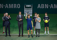 Februari 19, 2017, Netherlands, Rotterdam, Ahoy, ABNAMROWTT, Prizegiving: Runner up David Goffin (BEL)<br /> Photo: Tennisimages/Henk Koster