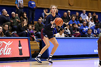 DURHAM, NC - NOVEMBER 29: Phoebe Sterba #33 of the University of Pennsylvania attempts a three point shot during a game between Penn and Duke at Cameron Indoor Stadium on November 29, 2019 in Durham, North Carolina.