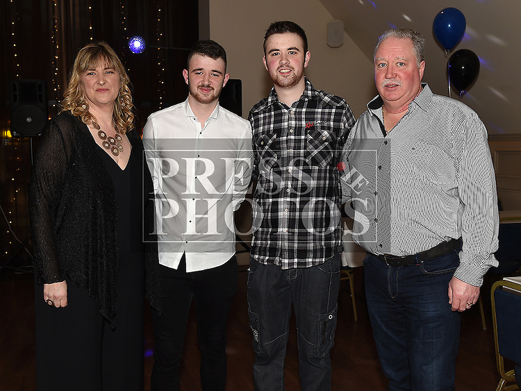Vincent O'Hare celebrating his 18th birthday in The Thatch with parents Paul and Rita and brother Tony.  Photo:Colin Bell/pressphotos.ie