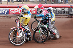 HEAT 12 <br /> Louis Bridger (Red), Rob Mear (Blue) Richard Lawson (Blue 2), Simon Gustafsson (White), Lukas Dryml (Yellow)<br /> Pile up on the 1st bend when Bridger lost control. He fell and took Eagles with him. All 3 up. Bridger excluded. Re-run Stopped. Dryml fell bend 3 lap 1 and Mear laid down bike but hit Drymls bike. Mear up now but was down for a while. Dryml fine got straight up. Drymls handlebars broke. Dryml excluded.<br /> <br /> LAKESIDE HAMMERS v EASTBOURNE EAGLES<br /> ELITE LEAGUE<br /> FRIDAY 29TH MARCH 2013<br /> ARENA ESSEX