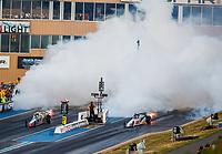 Jul 22, 2017; Morrison, CO, USA; NHRA jet dragster drivers launch off the stating line in their cars during qualifying for the Mile High Nationals at Bandimere Speedway. Mandatory Credit: Mark J. Rebilas-USA TODAY Sports