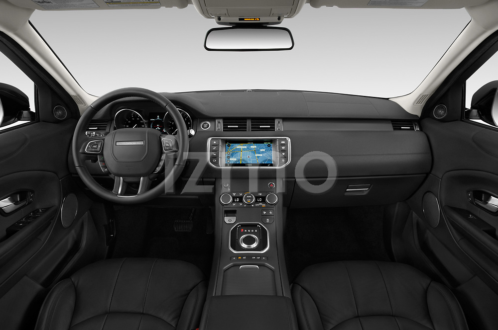 Stock photo of straight dashboard view of 2019 Land Rover Range-Rover-Evoque SE 5 Door SUV Dashboard