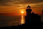 Lime Kiln Point Light House at sunset,  San Juan Island, Washington