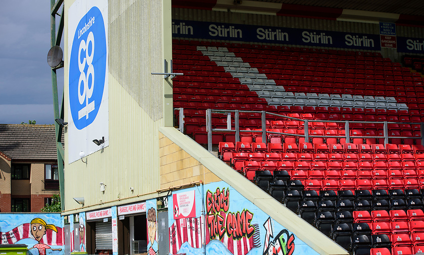 A general view of Sincil Bank, home of Lincoln City<br /> <br /> Photographer Andrew Vaughan/CameraSport<br /> <br /> The EFL Sky Bet League One - Lincoln City v Fleetwood Town - Saturday 31st August 2019 - Sincil Bank - Lincoln<br /> <br /> World Copyright © 2019 CameraSport. All rights reserved. 43 Linden Ave. Countesthorpe. Leicester. England. LE8 5PG - Tel: +44 (0) 116 277 4147 - admin@camerasport.com - www.camerasport.com