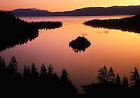 Sunrise sky reflected on Emerald Bay, Lake Tahoe, California