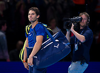 Rafael Nadal of Spain (1) leaves the court after his defeat to David Goffin of Belgium (7) in their Group Pete Sampras Match today - Goffin def Nadal 7-6, 6-7, 6-4<br /> <br /> Photographer Ashley Western/CameraSport<br /> <br /> International Tennis - Nitto ATP World Tour Finals - O2 Arena - London - Day 2  - Monday 13th November 2017<br /> <br /> World Copyright &not;&copy; 2017 CameraSport. All rights reserved. 43 Linden Ave. Countesthorpe. Leicester. England. LE8 5PG - Tel: +44 (0) 116 277 4147 - admin@camerasport.com - www.camerasport.com