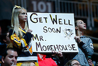 Pittsburgh Penguins fans holds up a sign for David Morehouse during the game against the Los Angeles Kings at Consol Energy Center in Pittsburgh, Pennsylvania on December 11, 2015. (Photo by Jared Wickerham / DKPS)