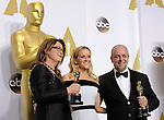 "US-LOS ANGELES-OSCARS-BEST MAKE UP AND HAIRSTYLING---<br /> Frances Hannon (L) and Mark Coulie (R) pose with Reese Witherspoon after winning the Best Makeup and Hairstyling award for ""The Grand Budapest Hotel"" during the 87th Academy Awards at the Dolby Theater. <br /> Los Angeles, USA - 22/02/2015."