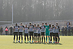 The teams observe a minutes silence in memory of Gordon Banks. Darlington 1883 v Southport, National League North, 16th February 2019. The reborn Darlington 1883 share a ground with the town's Rugby Union club. <br />