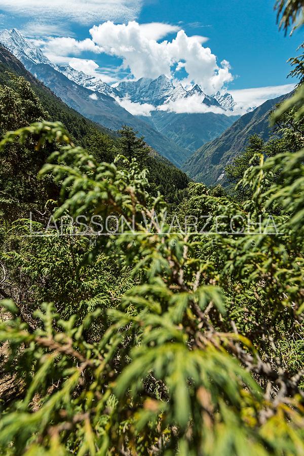 Mount Thamserku and Mount Kusum Kangkaru, Khumbu Valey, Nepal