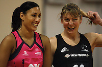 Geva Mentor and Irene Van Dyk share a laugh before tip-off during the International  Netball Series match between the NZ Silver Ferns and World 7 at TSB Bank Arena, Wellington, New Zealand on Monday, 24 August 2009. Photo: Dave Lintott / lintottphoto.co.nz