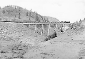 D&amp;RGW #484 with eastbound freight train crossing Cascade Trestle.<br /> D&amp;RGW  Osier, CO  Taken by Richardson, Robert W. - 8/12/1952