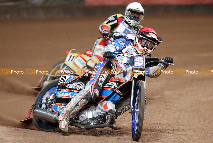 Heat 5: Davey Watt (red) and Magnus Zetterstrom (white) - British Speedway Grand Prix at the Millennium Stadium, Cardiff - 10/07/10 - MANDATORY CREDIT: Rob Newell/TGSPHOTO - Self billing applies where appropriate - 0845 094 6026 - contact@tgsphoto.co.uk - NO UNPAID USE.