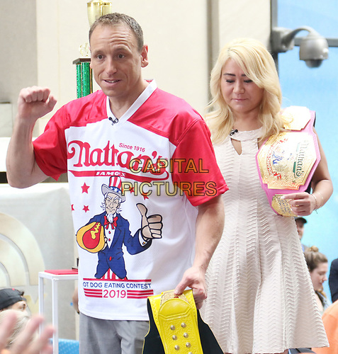 NEW YORK, NY - July 05: Joey Chestnut and Miki Sudo at NBC's Today Show to talk about his win in downing  71 hot dogs and Miki Sudo's win with downing 31 hot dogs at the 2019 Nathan's Hot Dog Eating Contest in New York City on July 05, 2019. <br /> CAP/MPI/RW<br /> ©RW/MPI/Capital Pictures