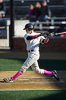 Bruce Steel (17) of the Wake Forest Demon Deacons follows through on his swing against the Virginia Tech Hokies at Wake Forest Baseball Park on March 7, 2015 in Winston-Salem, North Carolina.  The Hokies defeated the Demon Deacons 12-7 in game one of a double-header.   (Brian Westerholt/Four Seam Images)