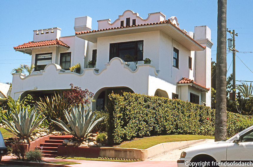 San Diego CA: Spanish Colonial Revival, 2525 San Marcos Ave., (Burlingame), 1912. Photo 2003.
