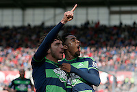 Swansea City's Alberto Paloschi celebrates his equalising goal with Leroy Fer  during the Barclays Premier League match between Stoke City and Swansea City played at Britannia Stadium, Stoke on April 2nd 2016