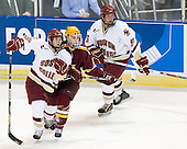 Matt Price (BC - 25), Tony Lucia (Minnesota - 12), Tim Filangieri (BC - 5) - The Boston College Eagles defeated the University of Minnesota Golden Gophers 5-2 on Saturday, March 29, 2008, in the NCAA Northeast Regional Semi-Final at the DCU Center in Worcester, Massachusetts.
