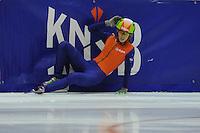 SCHAATSEN: HEERENVEEN: IJsstadion Thialf, 30-09-2012, Shorttrack, Invitation Cup, Rianne de Vries gaat tijdens haar rit onderuit, ©foto Martin de Jong
