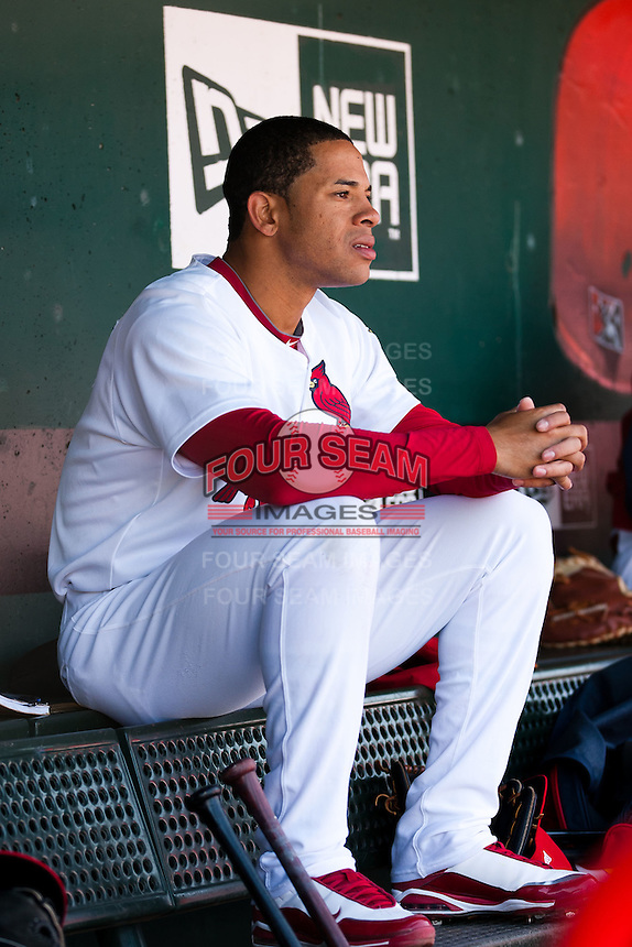 Thomas Pham (4) of the Springfield Cardinals sits in the dugout during a game against the Frisco RoughRiders on April 16, 2011 at Hammons Field in Springfield, Missouri.  Photo By David Welker/Four Seam Images