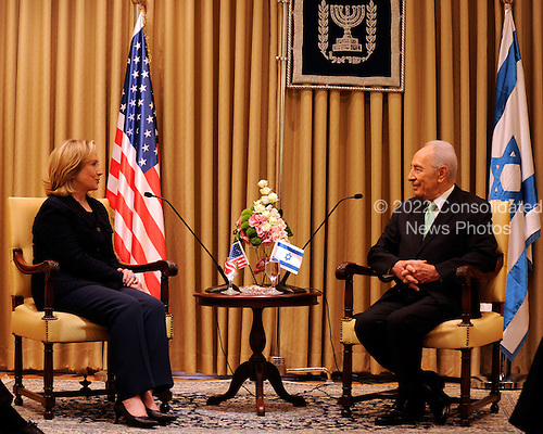 President Shimon Peres of Israel, right, meets with United States Secretary of State Hillary Rodham Clinton at the Presidential Residence in Jerusalem, Israel, on Wednesday, September 15, 2010. .Credit: Department of State via CNP.