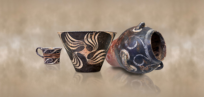 Minoan Kamares Ware vessels  with  polychrome decorations, Phaistos Palace 1800-1600 BC; Heraklion Archaeological  Museum.<br /> <br /> This style of pottery is named afetr Kamares cave where this style of pottery was first found