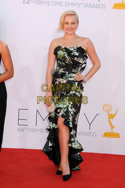 Elisabeth Moss.The 64th Anual Primetime Emmy Awards - Arrivals, held at Nokia Theatre L.A. Live in Los Angeles, California, USA..September 23rd, 2012.emmys full length dress hand on hip black white floral print green pink dyed blonde hair strapless .CAP/ADM/BP.©Byron Purvis/AdMedia/Capital Pictures.