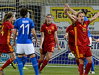 20180307 - LARNACA , CYPRUS : Spanish Patricia Guijarro Gutierrez (12)  pictured celebrating her goal and the 2-0 lead during a women's soccer game between Italy and Spain , on wednesday 7 March 2018 at the AEK Arena in Larnaca , Cyprus . This is the final game for the first place  for  Italy and  Spain on the Cyprus Womens Cup , a prestigious women soccer tournament as a preparation on the World Cup 2019 qualification duels. PHOTO SPORTPIX.BE | DAVID CATRY