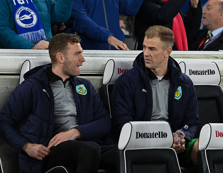 Burnley's Joe Hart (right) <br /> <br /> Photographer David Horton/CameraSport<br /> <br /> The Premier League - Brighton and Hove Albion v Burnley - Saturday 9th February 2019 - The Amex Stadium - Brighton<br /> <br /> World Copyright &copy; 2019 CameraSport. All rights reserved. 43 Linden Ave. Countesthorpe. Leicester. England. LE8 5PG - Tel: +44 (0) 116 277 4147 - admin@camerasport.com - www.camerasport.com