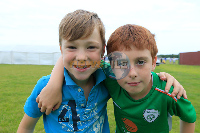 Kyle Lateeny and Calum Corr<br /> at the East Meath United family fun day.<br /> Picture:  Fran Caffrey / www.newsfile.ie
