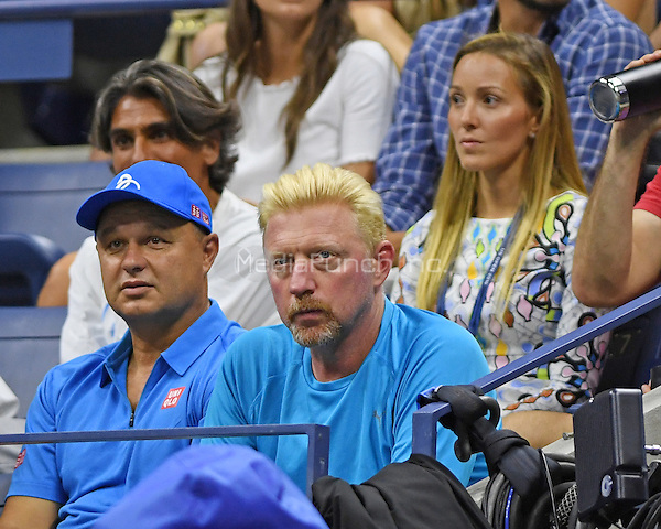 FLUSHING NY- AUGUST 29: Borris Becker are Jelena Djokovic are sighted watching Novak Djokovic Vs Jerzy Janowicz on Arthur Ashe Stadium at the USTA Billie Jean King National Tennis Center on August 29, 2016 in Flushing Queens. Photo by MPI04/MediaPunch