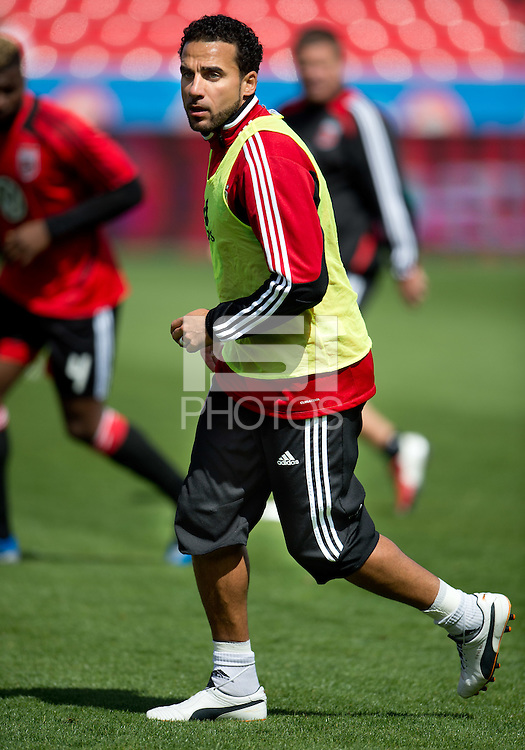 05 May 2012: D.C. United midfielder Dwayne De Rosario #7 in action during the warm-up in an MLS game between DC United and Toronto FC at BMO Field in Toronto..D.C. United won 2-0.