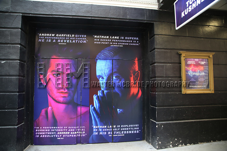 Theatre Marquee unveiling for Tony Kushner's 'Angels in America: A Gay Fantasia on National Themes' starring Andrew Garfield and Nathan Lane on February 1, 2018 at the Neil Simon Theatre in New York City.
