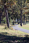 A wooded path along a golf course in Branson Missouri
