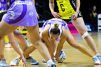 Mila Reuelu-Buchanan tries to control the ball during  the ANZ Premiership netball match between the Central Pulse and Northern Stars at the TSB Bank Arena in Wellington, New Zealand on Monday, 13 May 2019. Photo: Dave Lintott / lintottphoto.co.nz