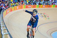 Picture by Alex Whitehead/SWpix.com - 11/08/2016 - 2016 Rio Olympic Games - Track Cycling - Olympic Velodrome, Rio de Janeiro, Brazil - Great Britain's Callum Skinner celebrates winning Gold in the Men's Team Sprint Final.