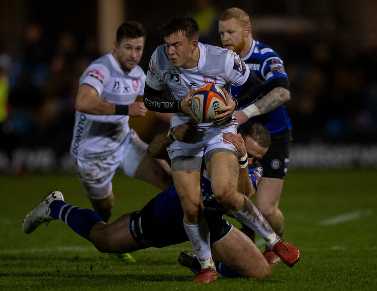 Gloucester's Lloyd Evans in action during todays match<br /> <br /> Photographer Bob Bradford/CameraSport<br /> <br /> Gallagher Premiership - Bath Rugby v Gloucester Rugby - Monday 4th February 2019 - The Recreation Ground - Bath<br /> <br /> World Copyright © 2019 CameraSport. All rights reserved. 43 Linden Ave. Countesthorpe. Leicester. England. LE8 5PG - Tel: +44 (0) 116 277 4147 - admin@camerasport.com - www.camerasport.com