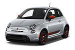 2019 Fiat 500e Battery-Electric 3 Door Hatchback Angular Front stock photos of front three quarter view