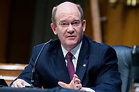 """United States Senator Chris Coons (Democrat of Delaware), speaks during the US Senate Judiciary Committee hearing titled """"Examining Best Practices for Incarceration and Detention During COVID-19,"""" in Dirksen Building in Washington, D.C. on Tuesday, June 2, 2020.<br /> Credit: Tom Williams / Pool via CNP/AdMedia"""